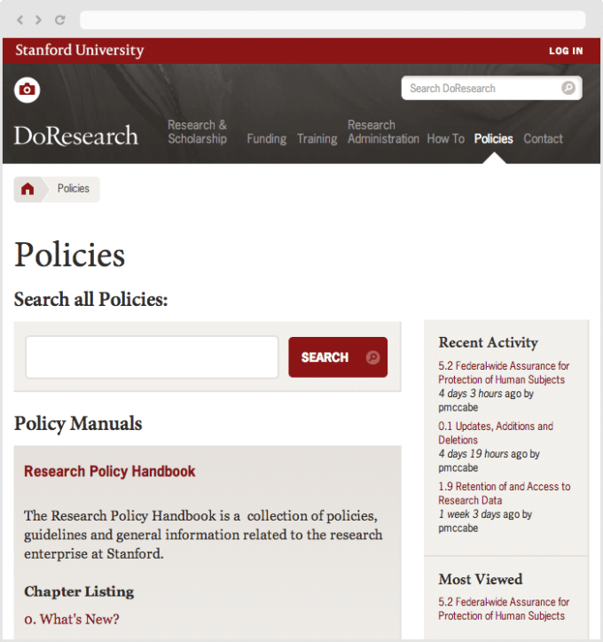 Case Study: Stanford University Dean of Research, screenshot