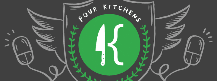 Four Kitchens logo, a chef's knife next to a large left curly bracket, making the shape of a K