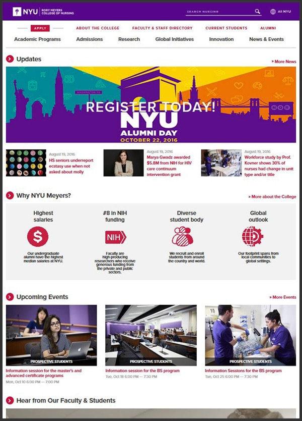 College of Nursing homepage screenshot.