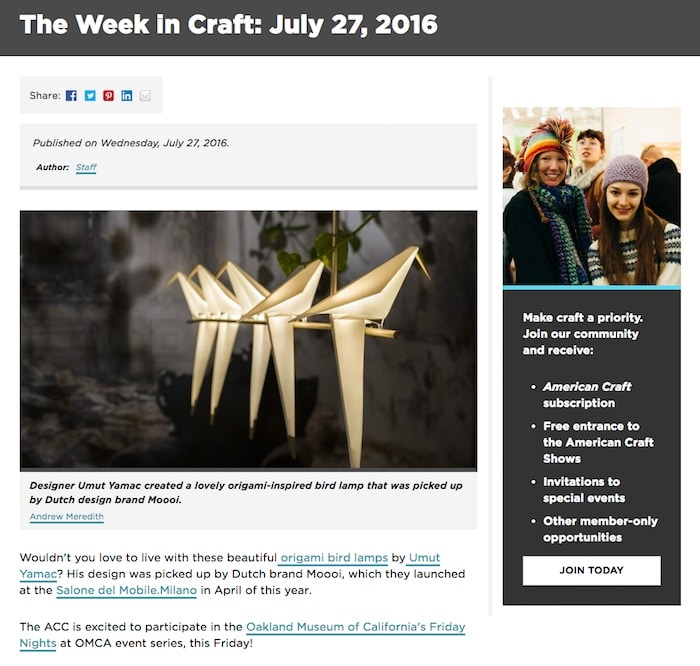 Screenshot of the American Craft Council website. On the left there is an article about a bird-shaped lamp. On the right, there is a small column of text about joining the American Craft Council.