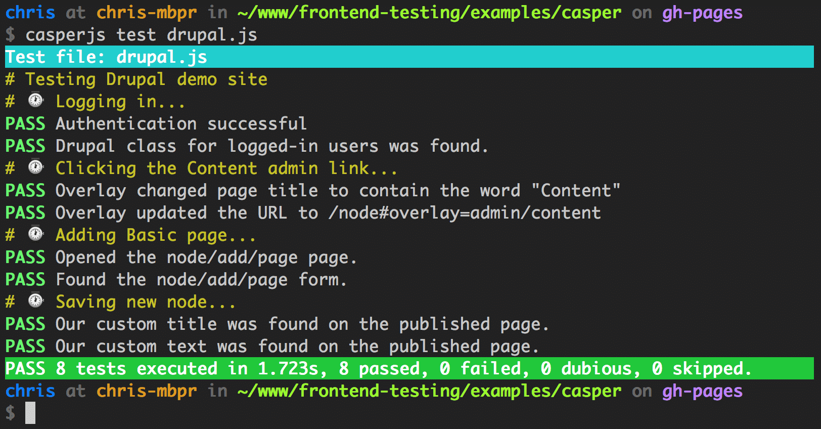 Screenshot of Casper JS output