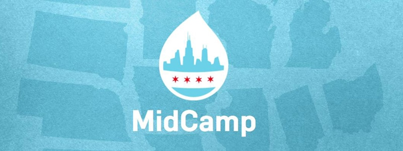 MidCamp logo: a Drupal drop restyled with the Chicago flag and skyline on a background of midwestern US state shapes