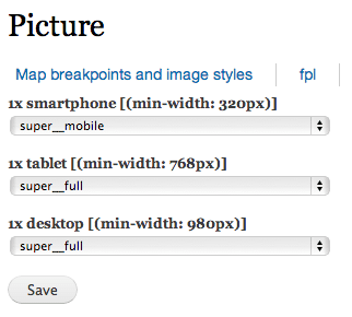 Configuration UI for breakpoints within Picture module