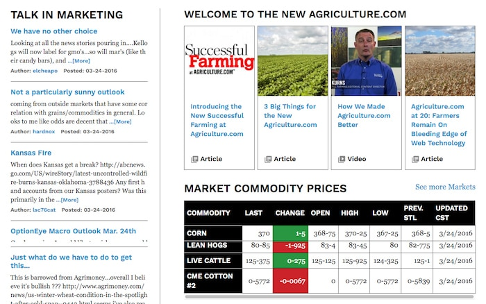 An image of the Successful Farming at Agriculture.com landing site.