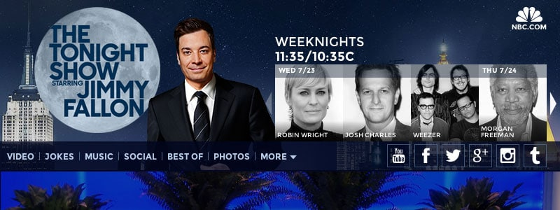 Screenshot of the Tonight Show's website