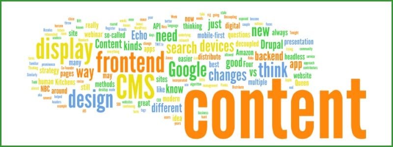 Word cloud containing words about content and search