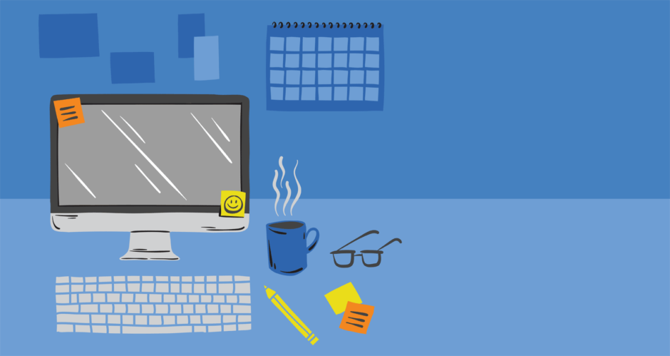 Illustration of a work space desk.