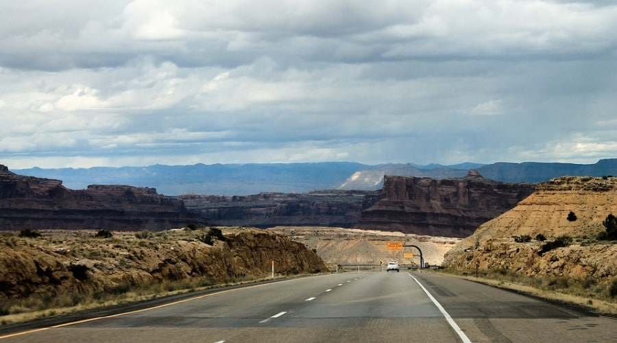 Photograph of the road leading to the Grand Canyon.
