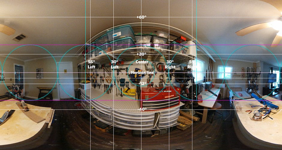 WebVR grid overlaid over a 360 degree image.