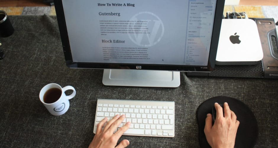 Computer screen showing WordPress post being authored