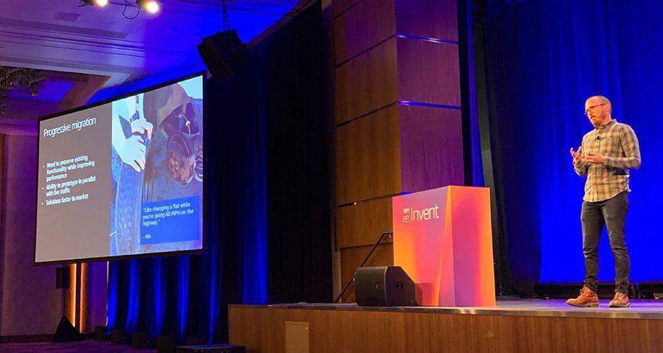 Elliott Foster speaking at AWS re:Invent.