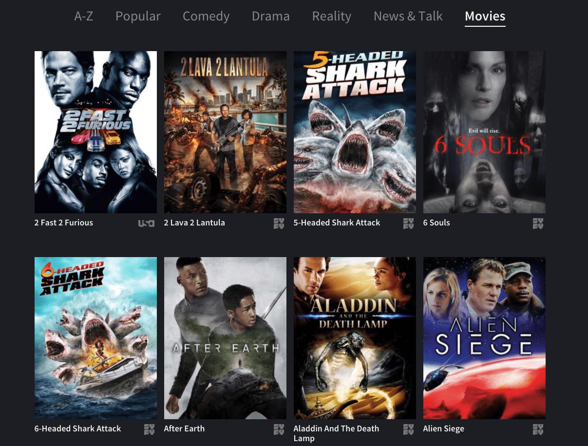 NBC OneApp movie menu