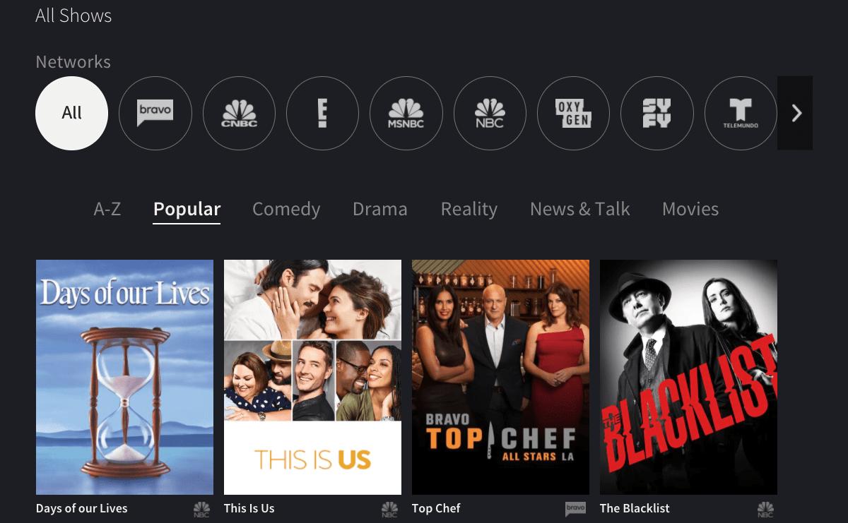 NBC OneApp show menu