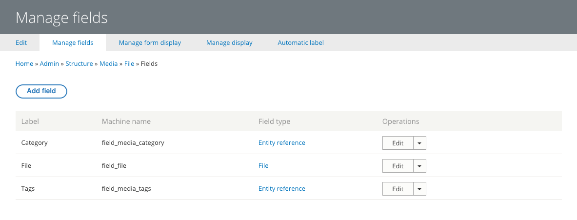 Drupal – manage fields